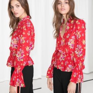& Other Stories Red Surplice Floral Blouse EUC
